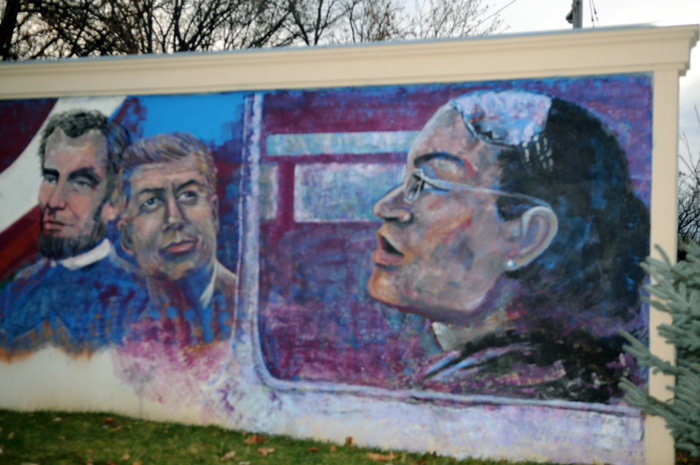Photograph of Dr King Jr. Memorial Park Mural - rosa parks kennedy,lincoln at Dr King park.jpg