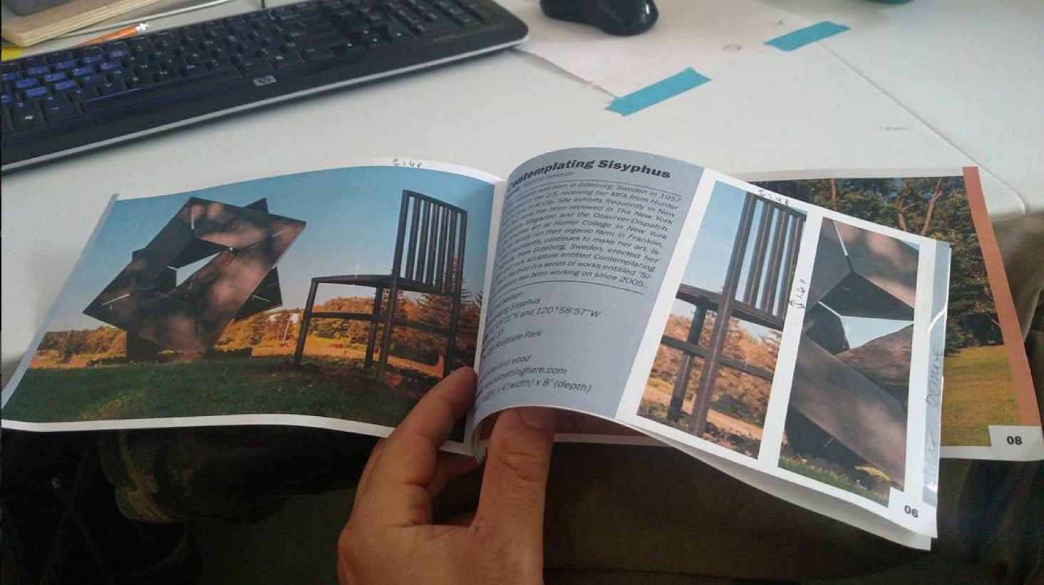a mockup of the ArtOneida commemorative book, showing 2 pages side to side